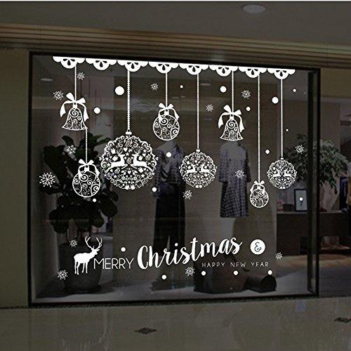 WARMWORD_Navidad la Decoración del Hogar de Vinilo Ventana Pegatinas de Pared Decorativos Santa Elk Campana Copos de Nieve de Navidad Navidad Decoración la Pared Navidad Santa Claus árbol de Navidad