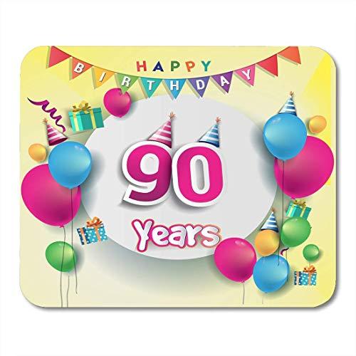 Mauspads 90. Jubiläumsfeier Geburtstagsdesign mit Box und Luftballons Bunt für die Party von neunzig Mauspads für Notebooks, Desktop-Computer Büromaterial