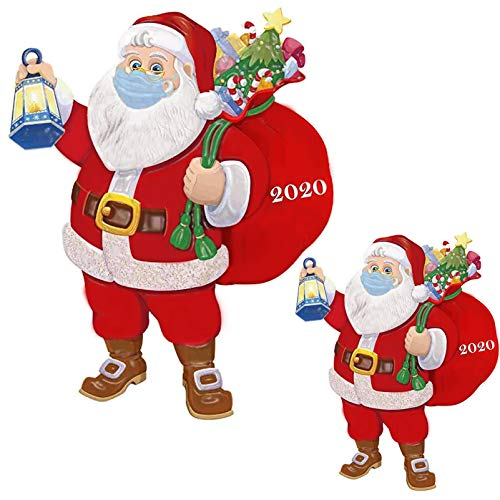 Tantrum Tow Ropes 2 Packs Santa with Mask Christmas Ornaments,2020 Quarantine Santa Claus Wearing a Face Mask Xmas Tree Decorations,Handmade 3D Relief,C-Style(2 Sets)