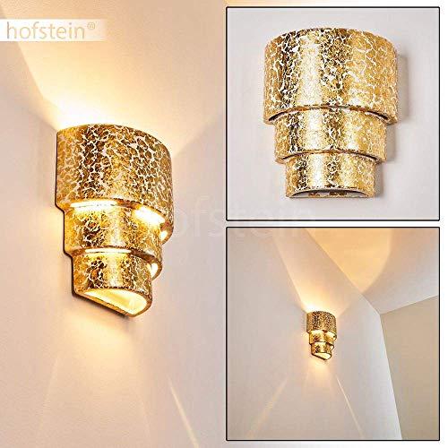 Wandlamp Karachi van keramiek in goud, wandlamp met mooie lichtkegel, 1 x E27 fitting max. 60 watt, binnenwerklamp in bladgoud optiek, geschikt voor LED-lampen