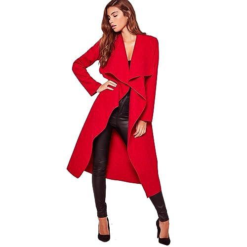 779f73134a2 SUFIAH Womens Ladies Long Sleeve Oversized Waterfall Italian Blazer Belted  Duster Coat Oversized Celebrity Plus Sizes