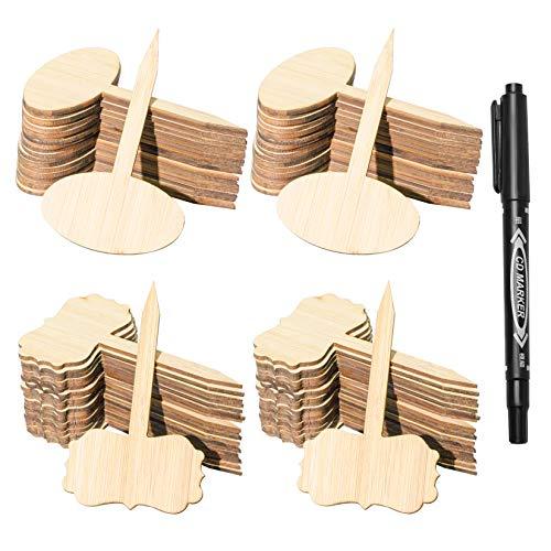 Hoveox - Etichette per piante in bambù, 80 pezzi, in legno, per piante da giardino, ortaggi, orto, con pennarello