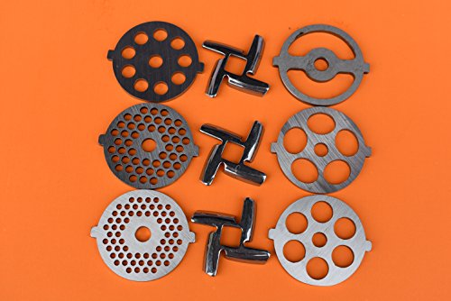 """9 pc SET New Size Discs and NEW style Sharp blades for MOST Rival, Villaware, Gvode,Waring Pro, Deni meat grinders. CHECK YOUR SIZE 2 1/8"""" diameter discs"""