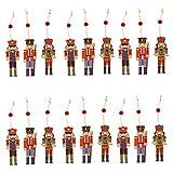 Bmakup 18 Piezas Adornos Navideños para Arbol Soldados de Madera de Colores Creativo Decoración Colgante de Navidad Ornamentos de Navidad DIY Decoración Fiesta