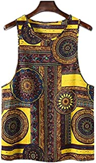 TT WARE Mens 100% Cotton Summer Ethnic Floral Printed Sleeveless Casual Vest-2XL