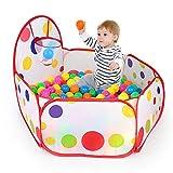 WayOuter Kinder Bällebad, Pop Up Baby Kugelbad Outdoor mit Mini Basketballkorb Bällepool Bällebecken Spielbälle Kugelbad Bällchenbad Spielbecken für drinnen und draußen