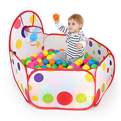 WayOuter Piscina de Bolas Infantil con aro de Baloncesto, diseño Hexagonal con Lunares, desplegable (Bolas no Incluidas)