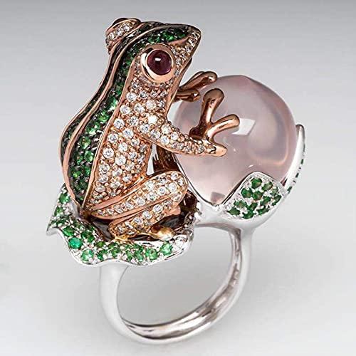 CXWK Animales Anillos de Cristal para Mujeres Grandes ópalos de circonio Anillo de Dedo Moda Vintage Diamantes de imitación Anillos Anillo de Compromiso de la Suerte