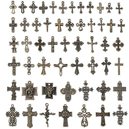 100 pcs Mixed Cross Charms Antique Silver Cross Pendants for Jewelry Making DIY Bracelet Necklace and Accessory