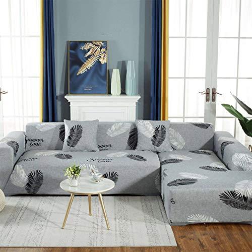 HUANXA Elastische L-Form Sofa Abdeckung Drucken Sofabezug, Weich Sofa Überwürfe Für 1 2 3 4 Sitzer Anti-Rutsch Schonbezug Möbelschutz-C- 2 Sitzer145-185cm(57-73in)