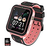 PTHTECHUS Reloj Inteligente para Niños con Reproductor de MúSica, Smartwatch para niños con 7 Juegos Cámara SOS para Niños De 3-12 Años Reloj de Pulsera Digital, MP3 Rosa