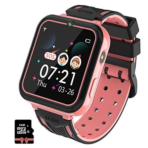 PTHTECHUS Kinder Smartwatch, Smart Watch Phone mit Musik-Player, SOS, 1,55 Zoll LCD-Touchscreen-Uhr mit Digitalkamera, Spielen, Taschenlampe, Zwei Wege Gespräch, Wecker für Jungen und Mädchen(Rosa)