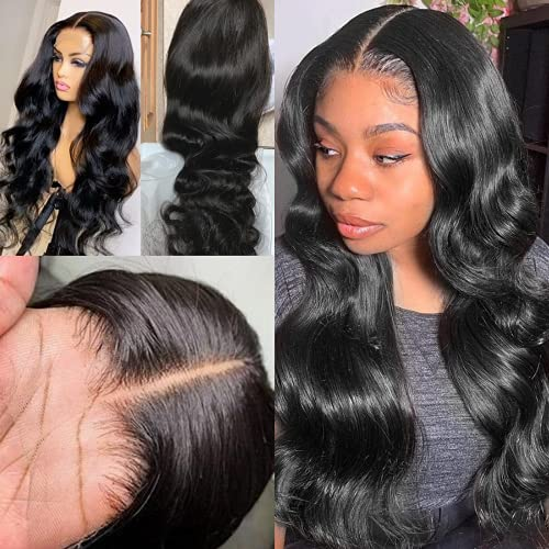 Ali Lumina Body Wave Lace Front Wigs Human Hair 20 inch Transparent Lace FrontWigs 10A 4x4Human Hair Wigs for Black Women Pre Pluacked with Baby Hair 150% Density Natural Hairline