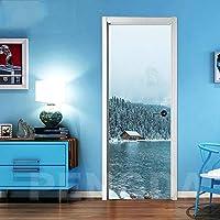 ZWYCEX ドアステッカー 自己接着ホームインテリア3Dドアステッカー山の風景版画防水壁紙壁画のリノベーションデカール画像を更新 (Sticker Size : 95x215cm)
