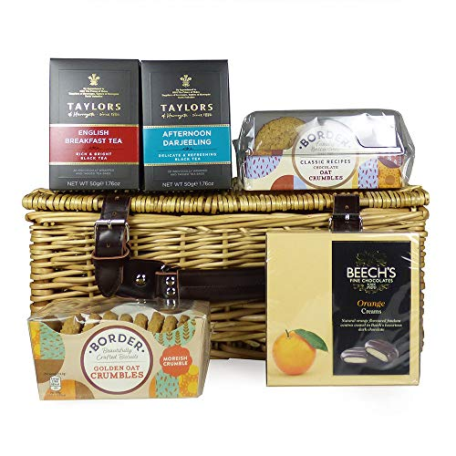 Deluxe Tea and Biscuits Hamper Presented in a Wicker Basket - Ideas for Birthday, Wedding, Anniversary and Corporate