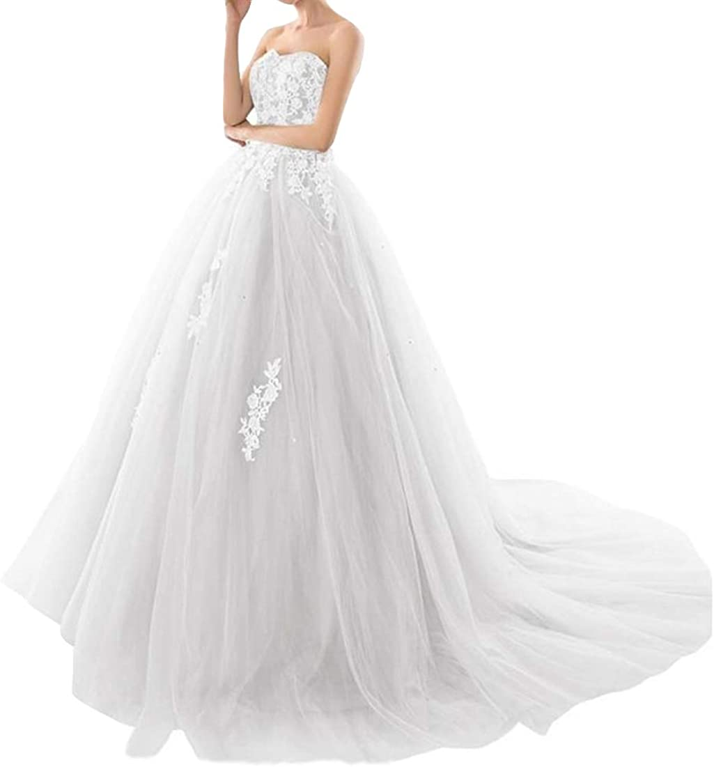 Ai Maria Women's Sweetheart Wedding Dress Lace Applique Tulle Formal Prom Evening Gown