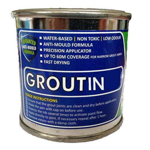 groutin–Lechada para Baldosas pintura 125ml–diseñado para restaurar lechada para baldosas, gris