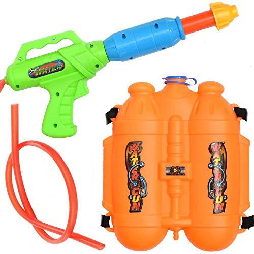 Wasserpistole/Wasserpistole Spritzpistole mit 3L Rucksack-Tank Wasserkanone Rückentank (Orange)