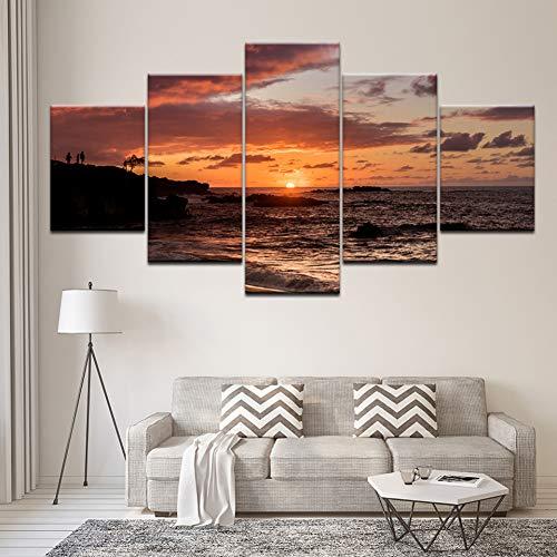 FJKYF 100×55cm 5 Paneles de Pintura de Pared Lienzo Arte Modular Imagen Amanecer mar con Piedra Cartel e Impresiones decoración del hogar para Sala de Estar Cuadro