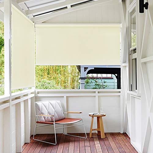 HENGMEI 180X140cm Balkon Sichtschutz Sonnenschutz Sichtschutzrollo Senkrechtmarkise Wasserdicht Windschutz vertikal Sonnensegel für Balkon Terrasse,Beige