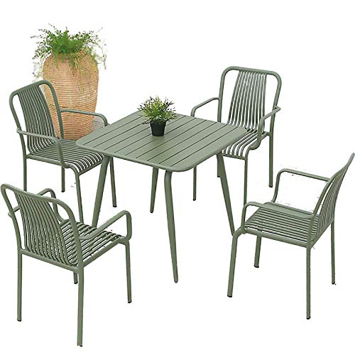 Mesa al Aire Libre y Silla Patio jardín Ocio Mesa Comedor combinación Exterior terraza balcón Mesa y Silla Silla Respaldo sillón Exterior,80 x 80CM4 Chairs