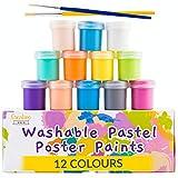 Creative Deco Pastell-Farben Kinder-Farben Fingerfarben | 20 ml x 12 Mehrfarbig Becher | Bastel-Farbe Plakat-Farbe Set | Pastellweiche Farbtöne | Ungiftig | Perfekt für Anfänger Studenten Künstler