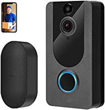Video Doorbell Camera with Chime, 1080P Wireless Smart Doorbell 2.4GHZ with Free Cloud Storage, PIR Motion Detection, 2-Wa...