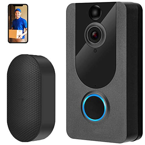 Wireless Doorbell Camera with Chime, 1080P HD Video Doorbell with Free Cloud Storage, PIR Motion...