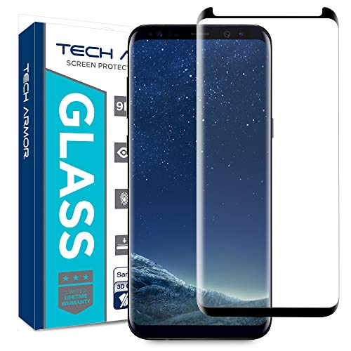 Tech Armor 3D Curved Ballistic Glass Screen Protector for Samsung Galaxy S8, CASE-Friendly, (Black) [1-Pack]