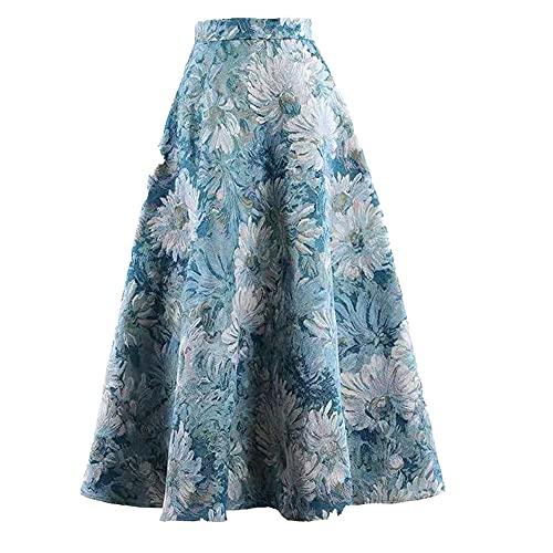 NP Saia casual confortável feminina primavera verão cintura alta saia, Azul, M