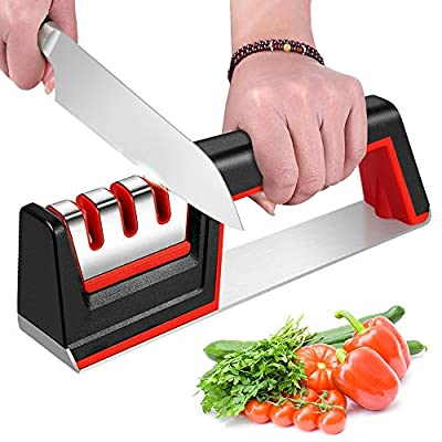 Kitchen Knife Sharpeners, iToncs Knife Sharpener 3-Stage Manual Knife Sharpening Tool with Diamond Coated, Tungsten Steel and Ceramic Rod