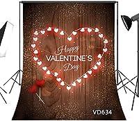 写真のための新しい素朴な木製の床バレンタインデーの背景5x7ftラブハートポートレート写真の背景写真スタジオの小道具カスタマイズされたVD634