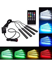 AUTO BEAST 4x 9 LED RGB Interior Decorative Light Floor Atmosphere Strip Light Car Under Dash Interior LED Lighting Kit with Sounds Activated Wireless IR Remote Control (6W, Multicolor)
