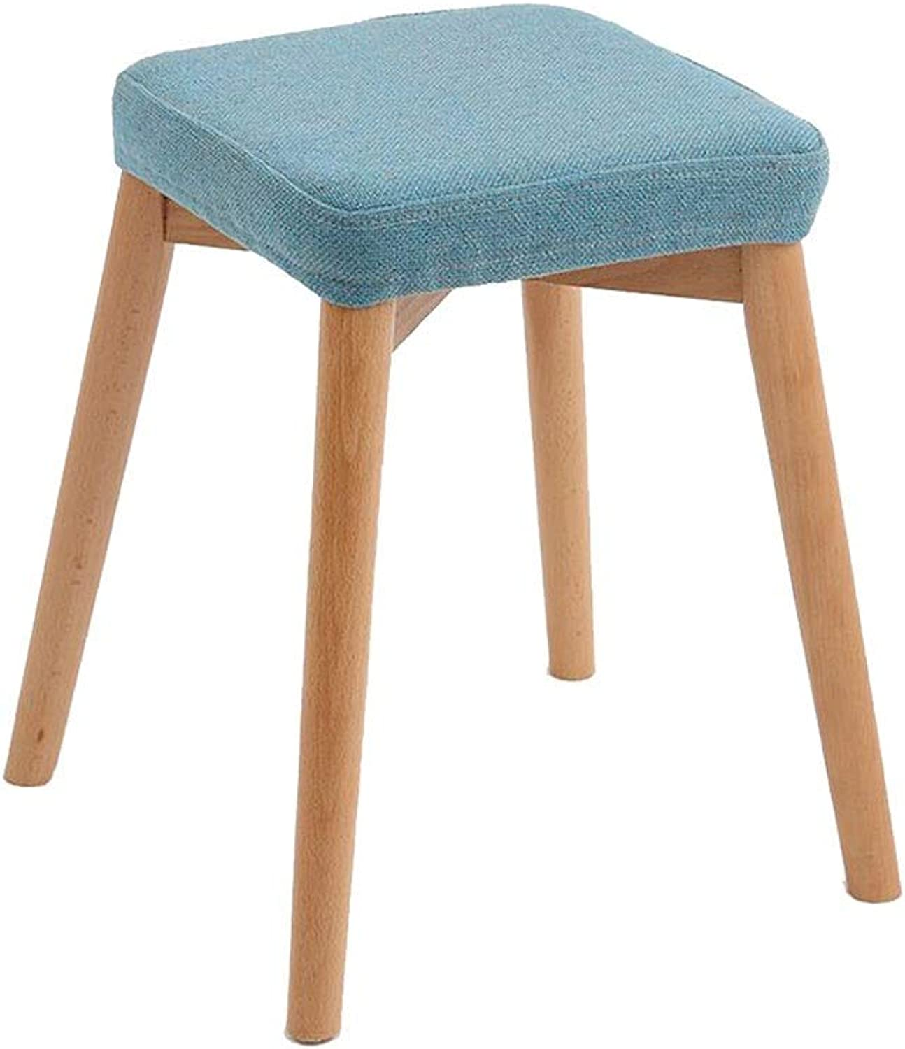 ECSD Dining Stool Solid Wood Square Stool Home Fabric Makeup Stool Footstool Assembly (color   01)