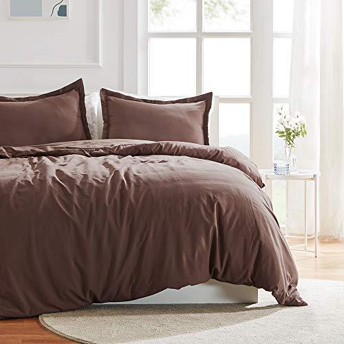 SLEEP ZONE Bedding Duvet Cover 90x90 inch Temperature Management 120gsm Soft Zipper Closure Corner Ties Light Brown 3 PC, Nutmeg,Full/Queen