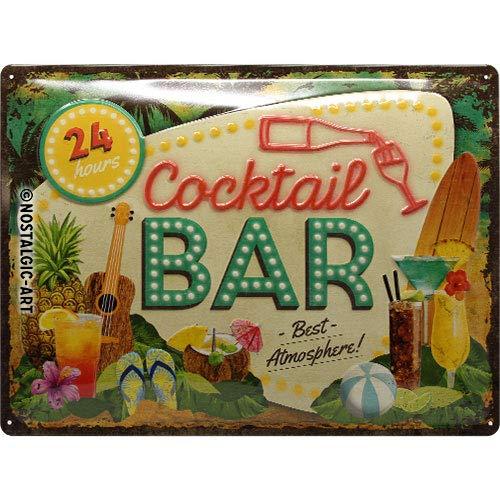 Nostalgic-Art Open Cocktail Bar – Geschenk-Idee für Getränke-Fans Cartel de Chapa Retro, De Metal, Diseño Vintage para decoración, 30 x 40 cm