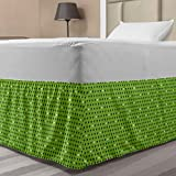 Ambesonne Green Elastic Bed Skirt, Small Heart Shapes Vibrant Color Celebratory Fun Pattern Design, Wrap Around Fabric Bedskirt Dust Ruffle for Bedroom, Twin/Twin XL, Lime Green Dark Green