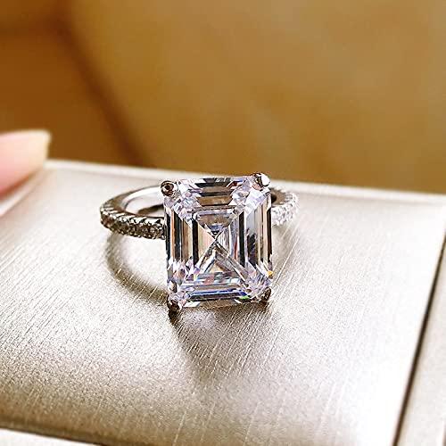 JIUXIAO Anillos de Diamantes de Laboratorio de Corte Esmeralda de Compromiso de Plata de Ley 925 para Mujer, Anillo de Diamantes de Laboratorio Ancho de Plata para Bodas, Regalos de joyería