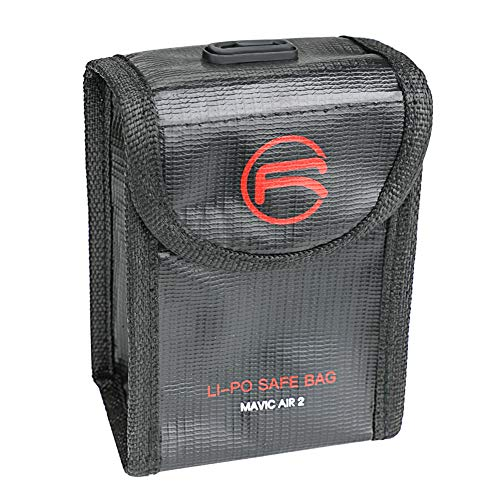 XHXseller bolsa de seguridad ignífuga a prueba de explosiones, bolsa de almacenamiento para batería Lipo, bolsa de almacenamiento Hobbymate Lipo bolsa para DJI MAVIC AIR 2, tela ignífuga de PVC, paño ignífugo, No nulo, negro, 2pac,black