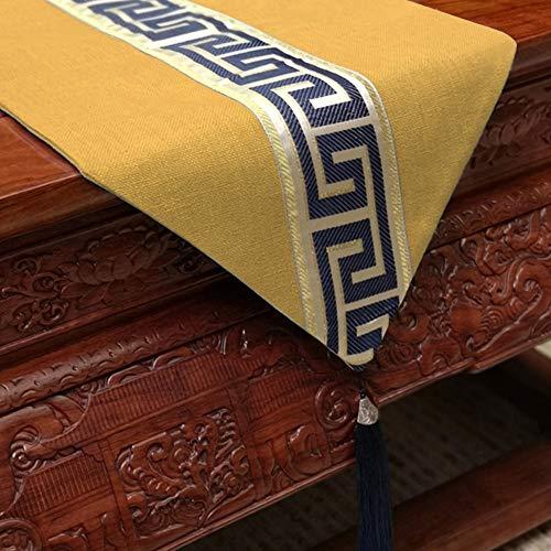 Tafelloper / Chinese eenvoudige Zen-Tafelvlag, fringed Tablecloth, Light Coffee Color | lichtblauw | blauw groen, hoofddecoratie | bruiloft | cadeau, 33 x 150 cm / 33 x 200 cm / 33 x 240 cm ++ 33x100cm bright yellow
