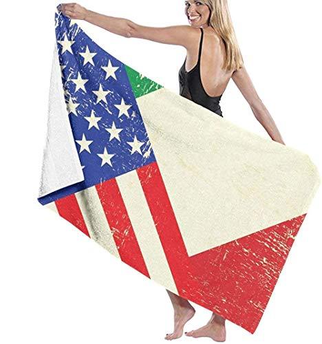 Toalla de Playa Italia EE. UU. Bandera Americana Microfibra Grande para niños Adultos Ideal para Nadar Viajes Yoga Deportes Camping Cubierta de Tumbona Toalla de Ducha de baño 80X130 Cm