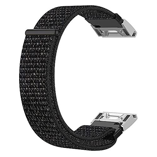 Pulseira Nylon Loop compatível com Garmin Fênix 5S - Fênix 5S Plus - Fênix 6S - Marca LTIMPORTS (Preto Mescla)