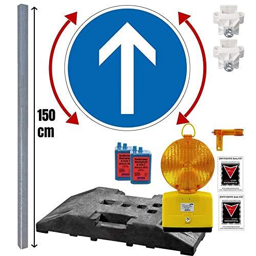 Komplett-Set Baustelle mit Leuchte, vorgeschriebene Fahrtrichtung VZ 209-222-211