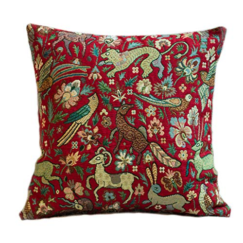 Mythical Animals Heavyweight Tapestry Double Sided Cushion Cover. 17'x17' Square Pillow Cover. Red background with multicoloured beasts. Morris style design. Turkish Kilim style Fabric.