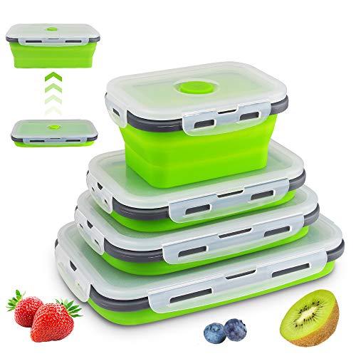 SZSMD Silikon zusammenklappbaren Container, tragbarer Bento-Box zum Platzsparen, Mikrowelle, Gefrierschrank, 4Pcs (Grün)