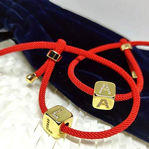 CXWK Pulseras Iniciales para Mujer, joyería, Hilo de Cuerda roja, circonita cúbica Ajustable, 26 Letras del Alfabeto, Pulsera con dijes, circonita