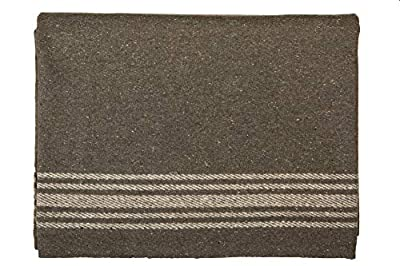 Farm Blue Wool Blanket Military Style - Thick & Lightweight Army Camping Blankets - Large Camp Survival Blankets For Car, Hiking, Backpacking & Outdoor Festivals (French Olive with a Light Tan Stripe)