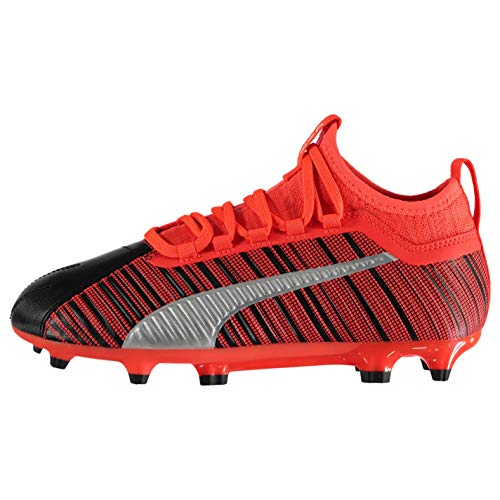 PUMA ONE 5.3 FG/AG Youth Fußballschuhe Black-NRGY Red-Aged Silver UK 3_Youth_FR 35.5