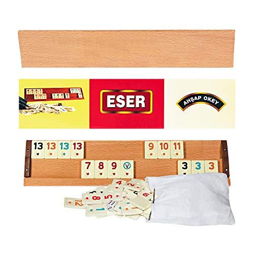 ESER Holz Rummy Set Wooden Original Okey Spiel mit Premium Melamine Steine Jumbo Rummikub Ahşap Okey Takımı | Strategiespiel Gesellschaftsspiel Legespiel Brettspiel