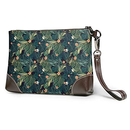 MGBWAPS Bolso de mano hawaiano de palmera, bolso de mano de cuero, bolso de cosméticos, bolso de mano de embrague, (Como se muestra), Talla única